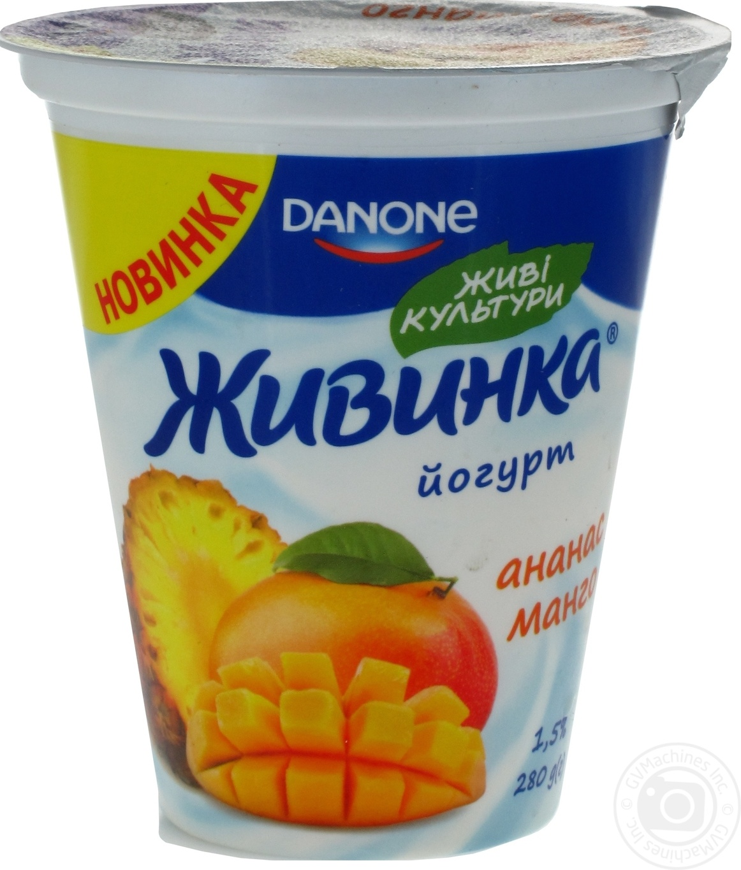 Купить Йогурт Danone Живинка Ананас-Манго 1, 5% 280г