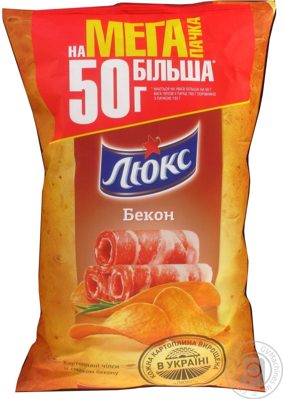 Купить Чипсы картофельные Люкс со вкусом бекона 183г