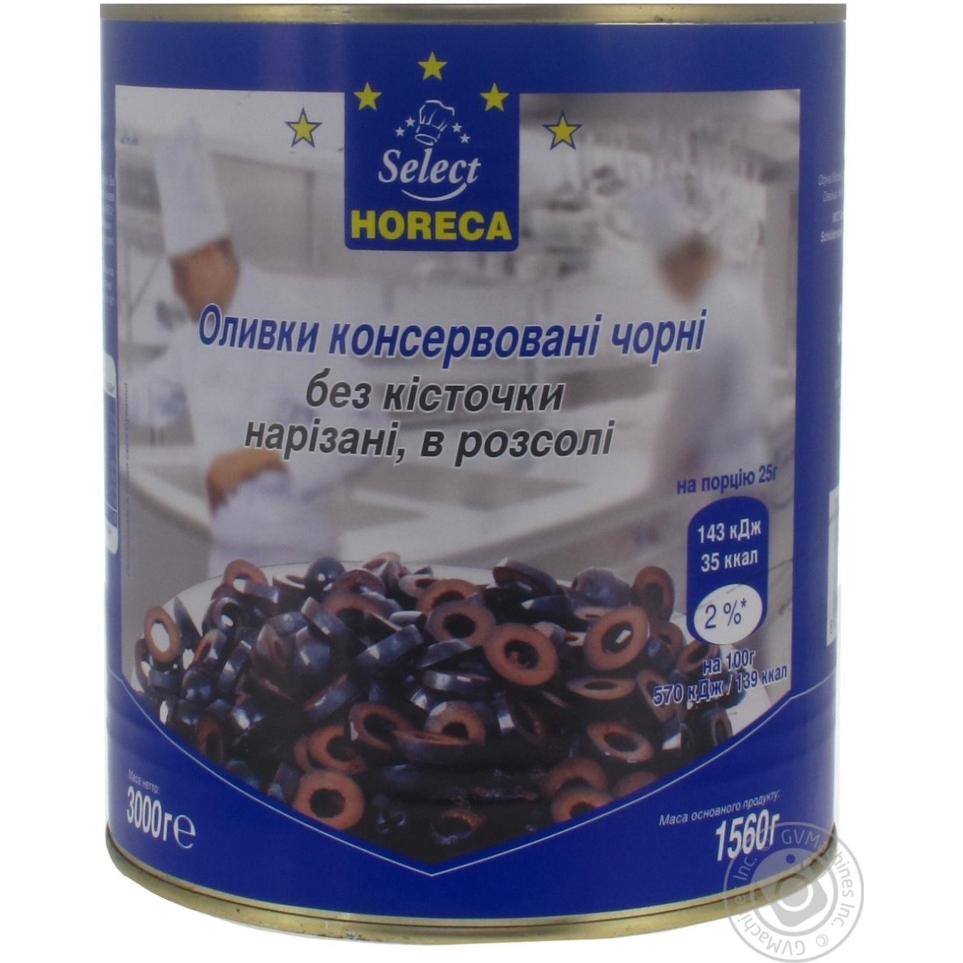 Купить Оливки консервированные Horeca Select черные без косточек нарезанные в рассоле 3кг