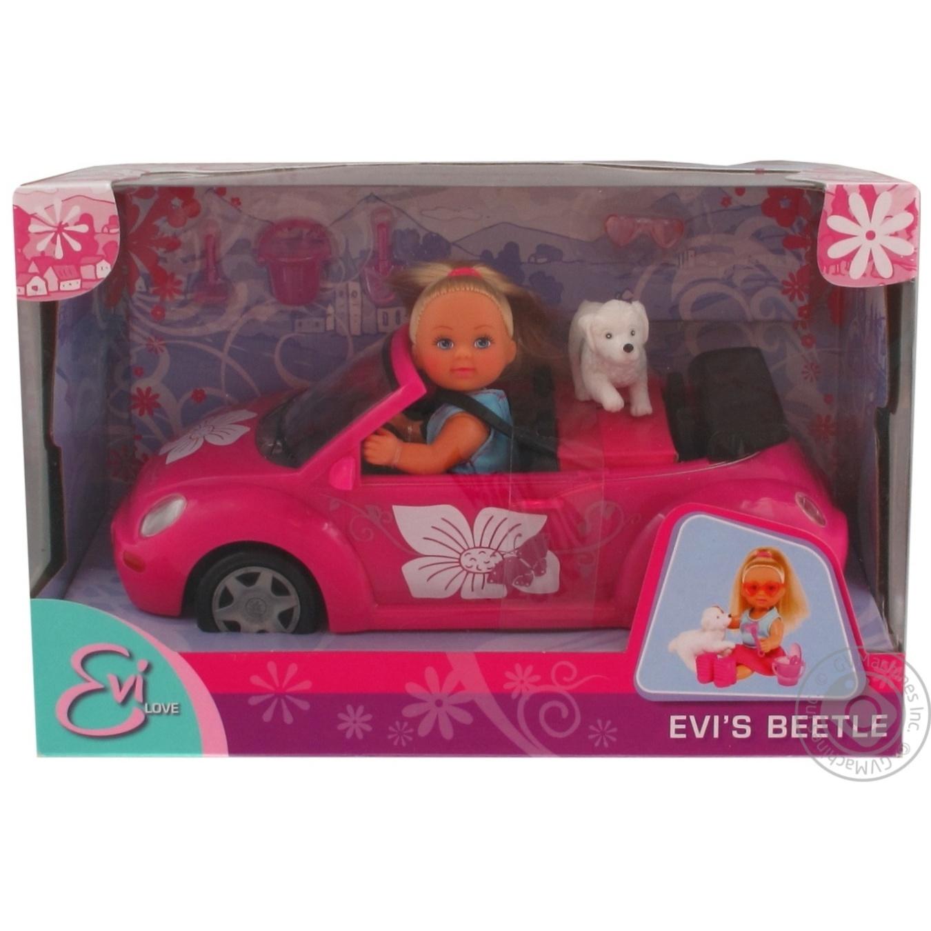 Игрушка кукла Еви в автомобиле new beetle  - купить со скидкой