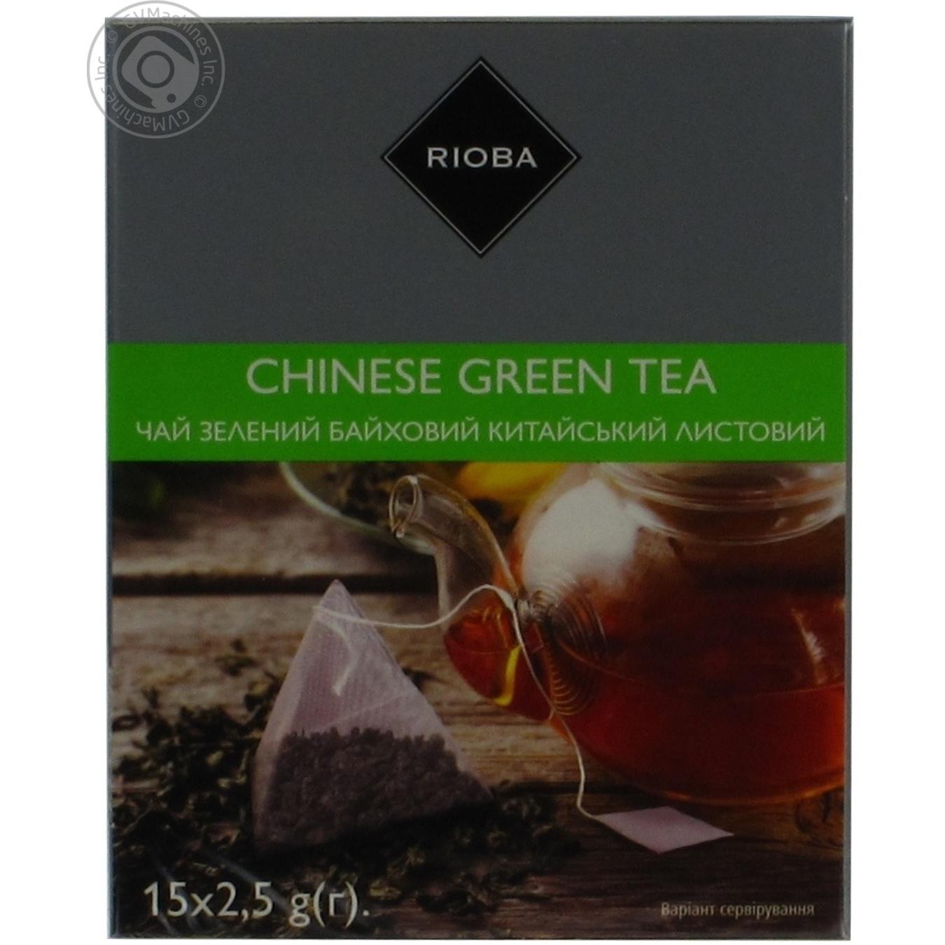 Купить Чай Rioba зелений байховий китайський листовий в пакетиках-пірамідках 15*2, 5г