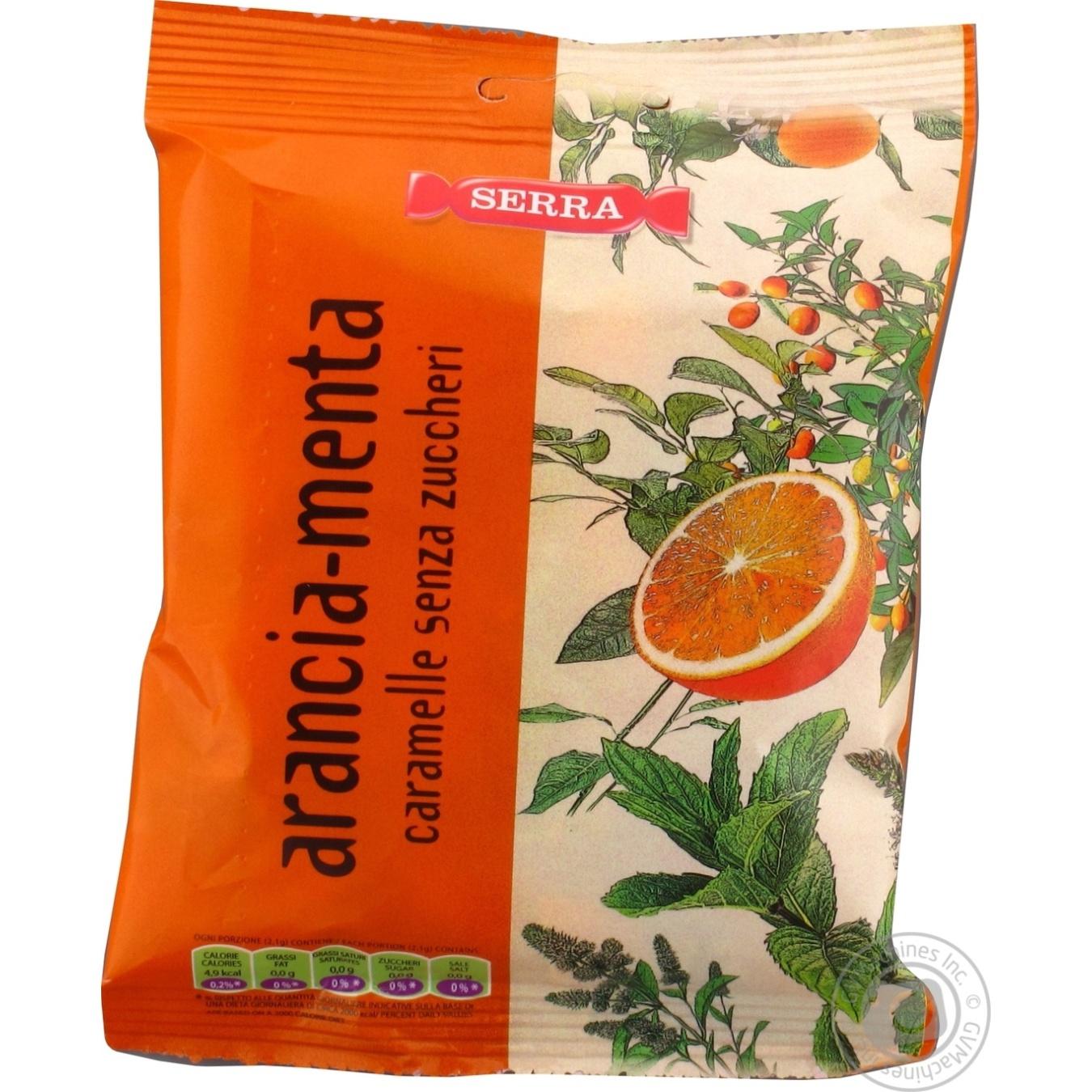Купить Цукерки та батончики, Цукерки міні Serra Апельсинова м'ята без цукру 70г