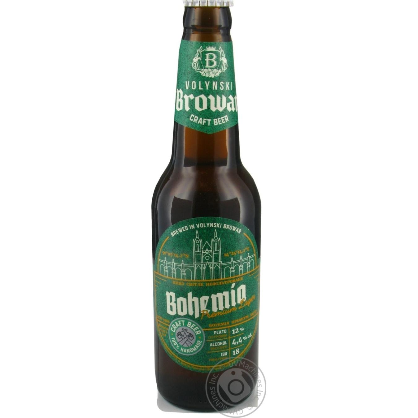 Пиво Волинський Бровар Bohemia Premium Lager світле 4,4%, 0,35л
