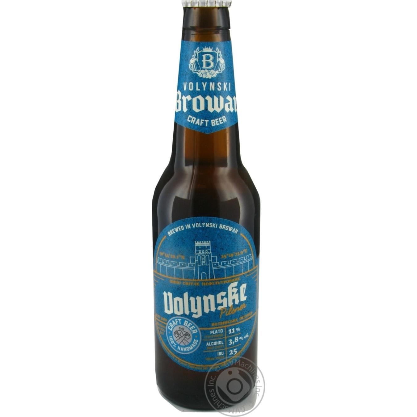Пиво Волинський бровар Volynske Pilsner світле 3,8% 0,35л