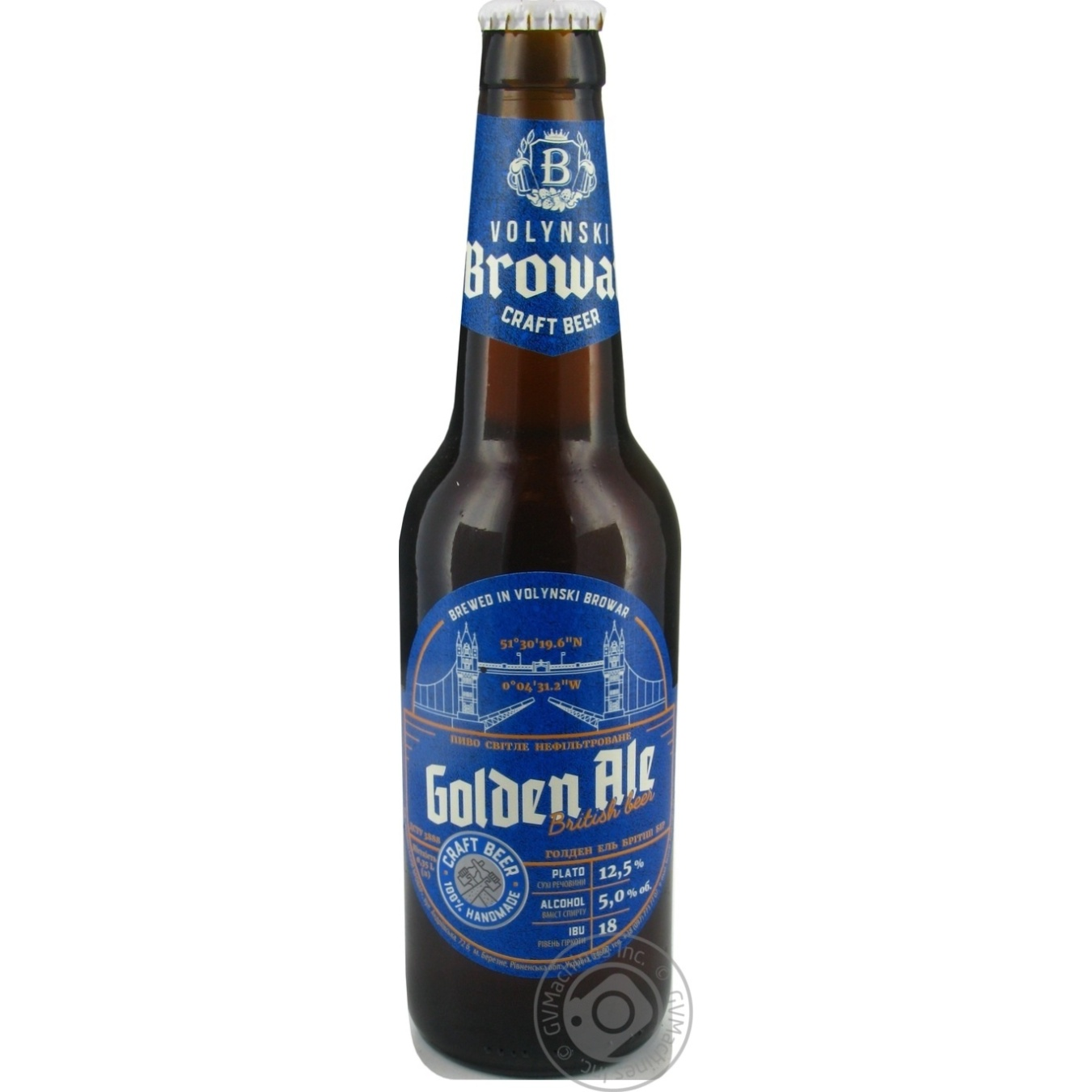 Пиво Волинський Бровар Golden Ale світле нефільтроване 5% 0,35л
